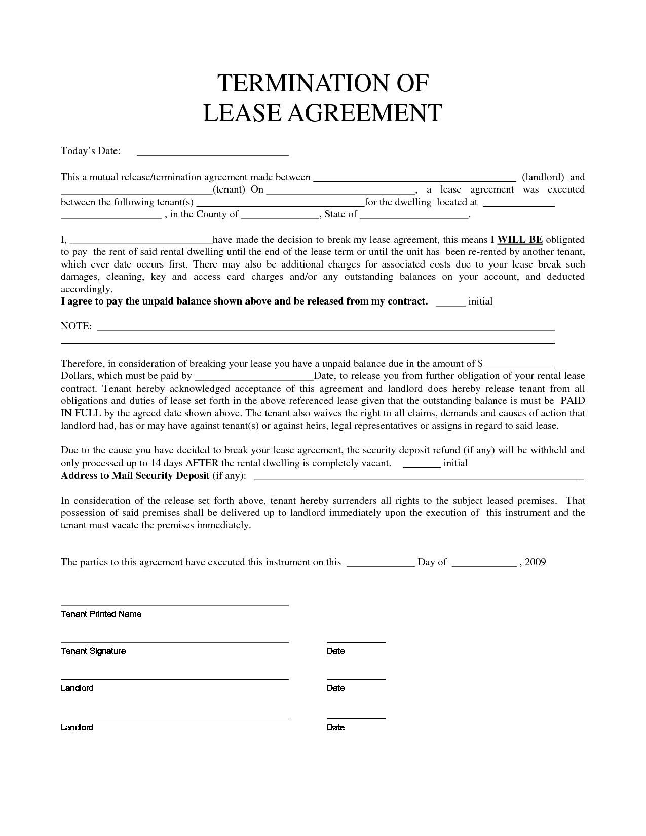 Early Lease Termination Agreement Form