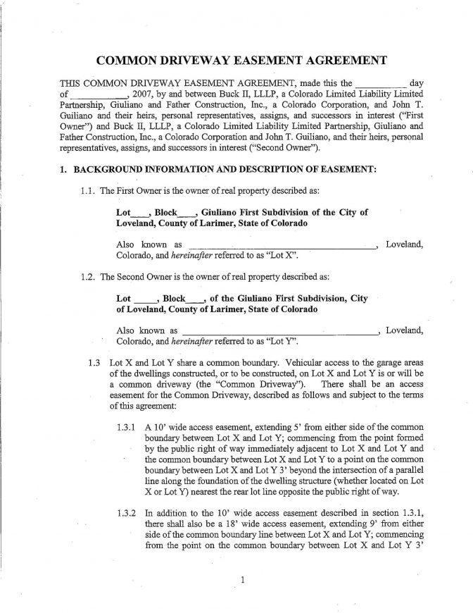 Easement Agreement Form