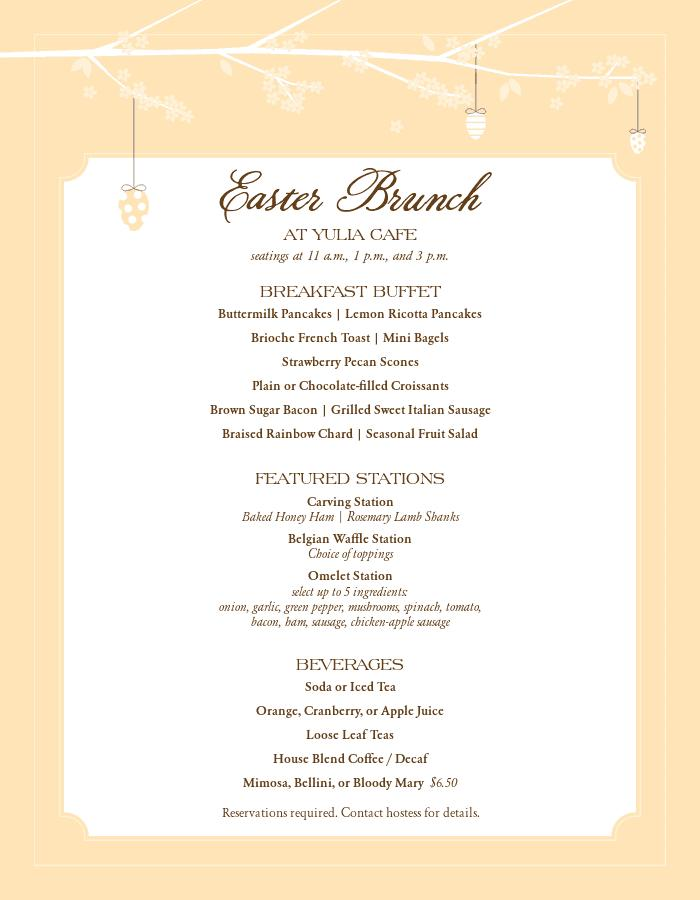 Easter Menu Designs Templates