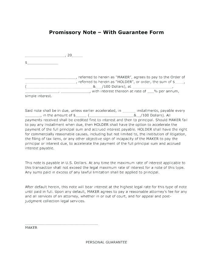 Easy Promissory Note Form
