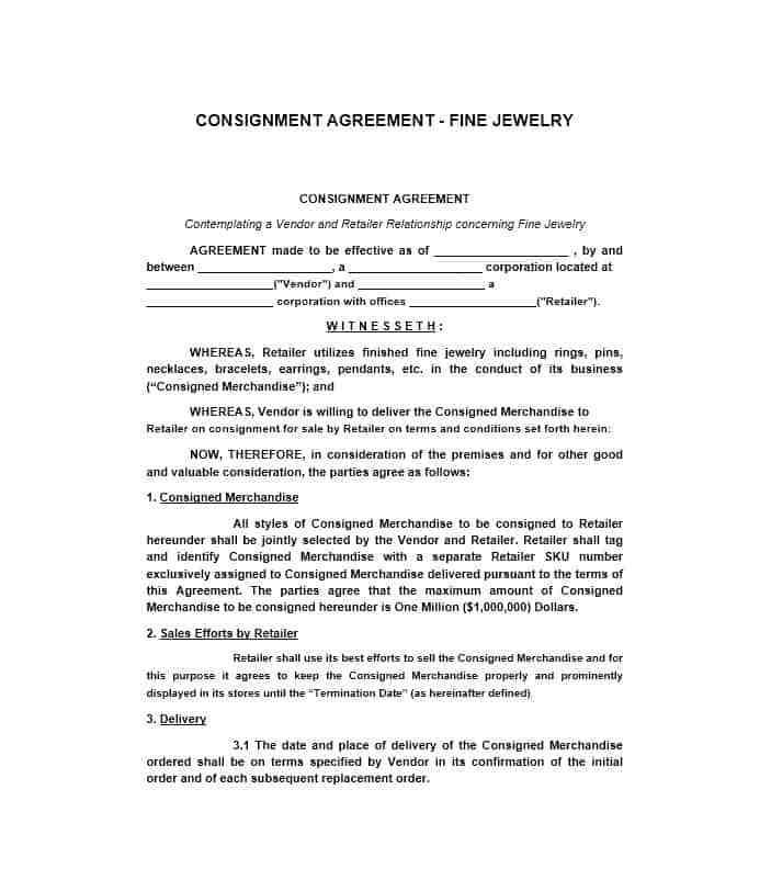 Ebay Consignment Contract Templates