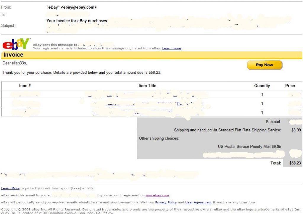 Ebay Receipt Format