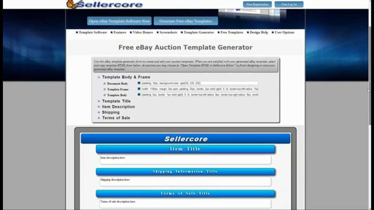 Ebay Responsive Template Free
