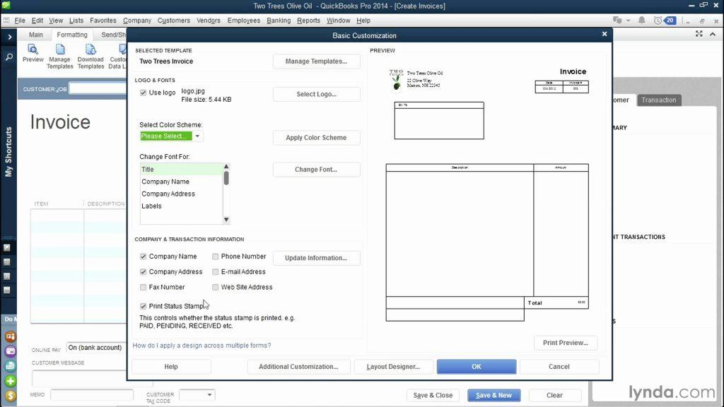Edit Invoice Template Quickbooks Online