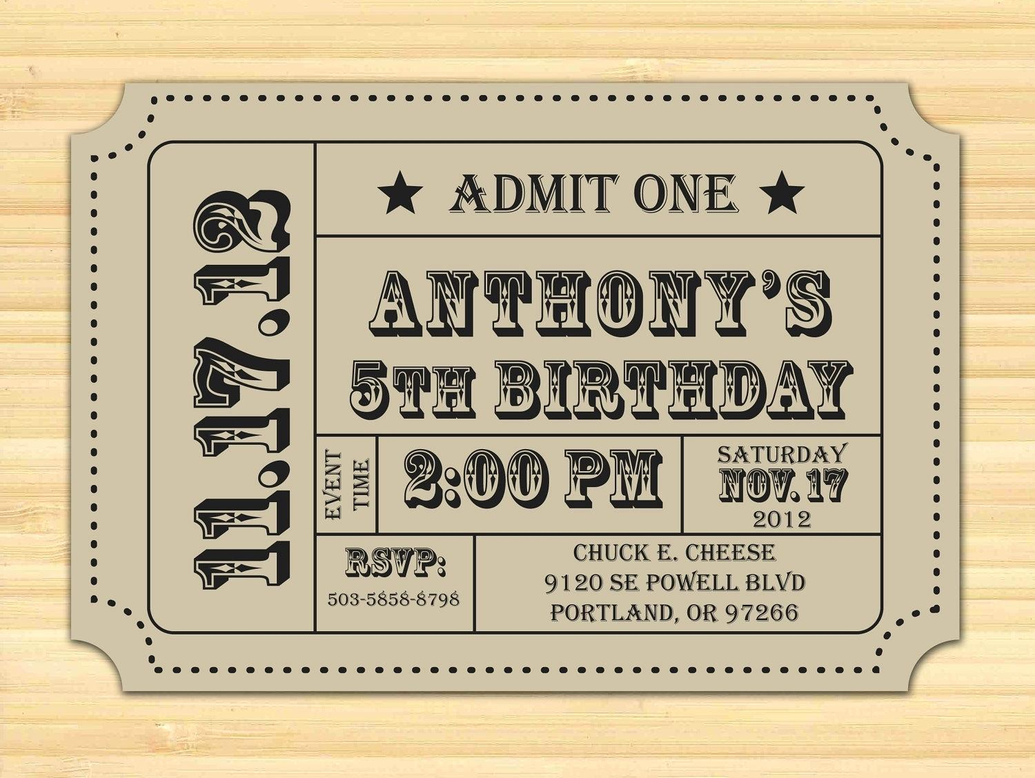 Editable Admission Ticket Template Free