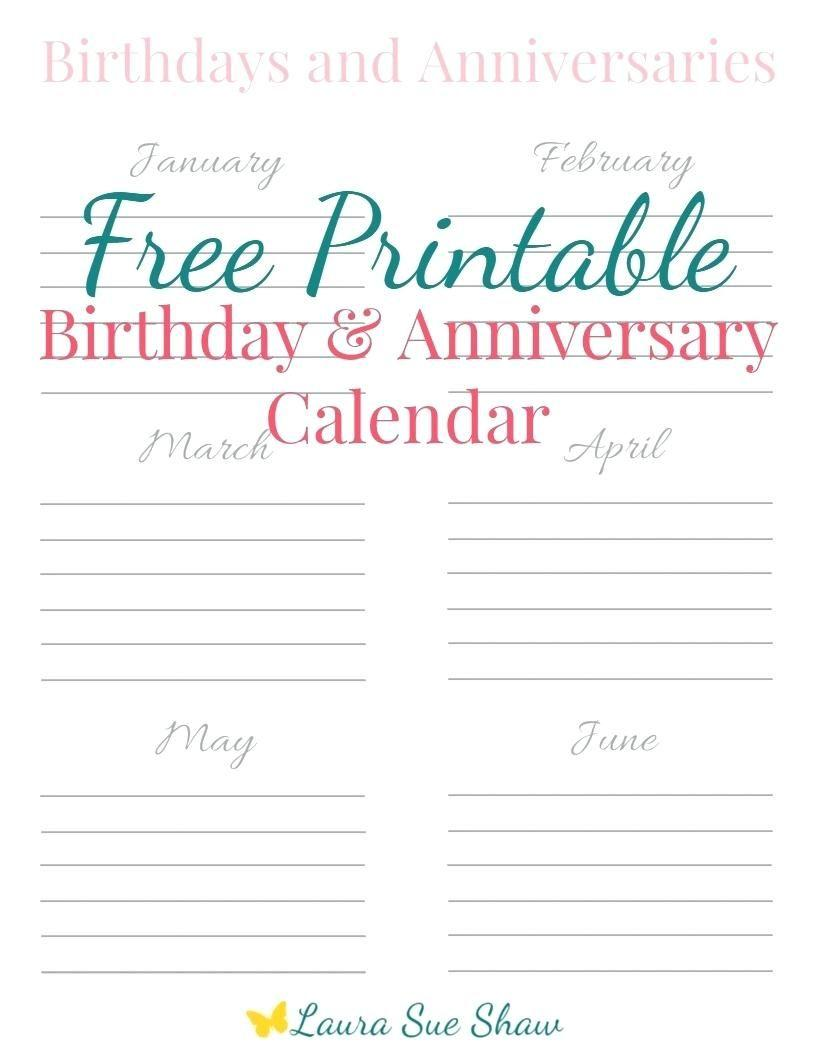 Editable Birthday Calendar Template