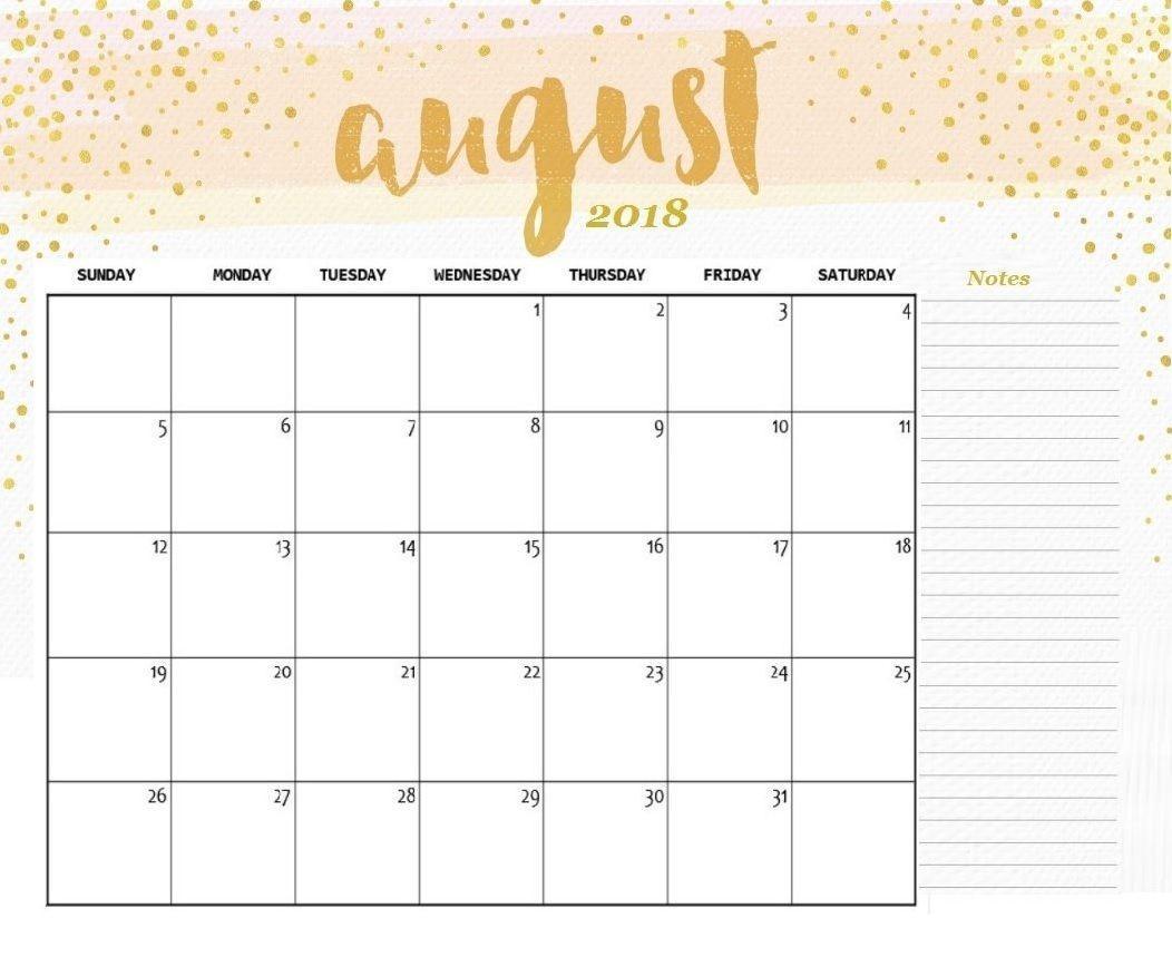 Editable Calendar Template August 2018