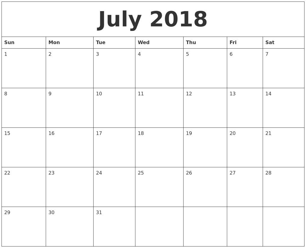Editable Calendar Template July 2018