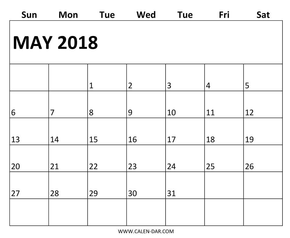 Editable Calendar Template May 2018