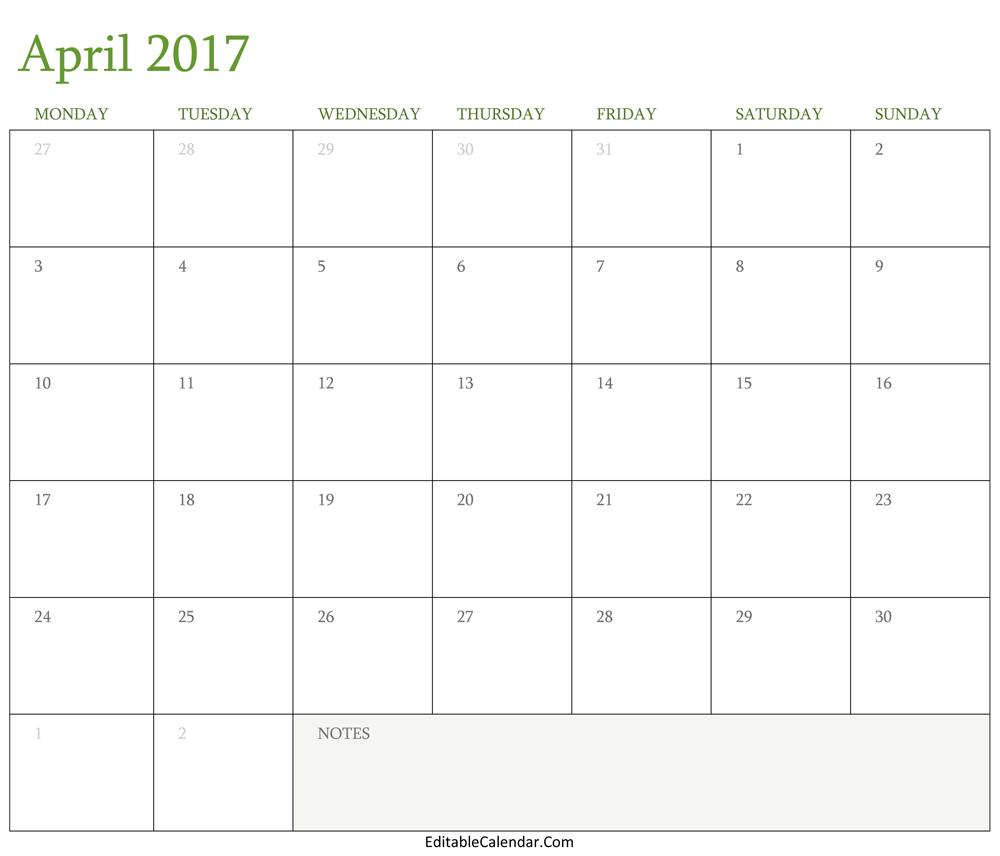 Editable Calendar Template October 2017