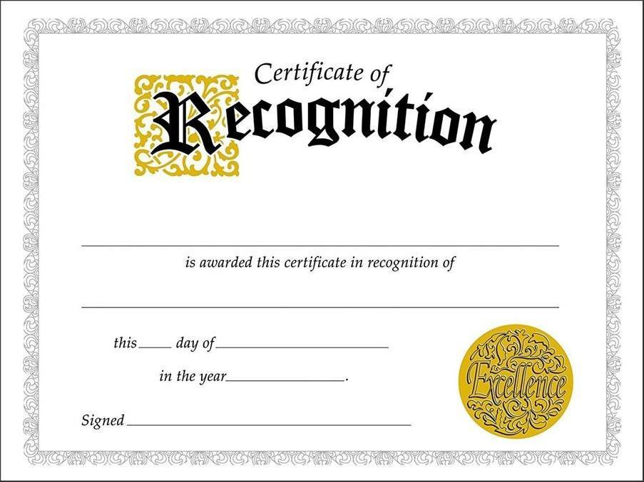 Editable Certificate Of Recognition Templates