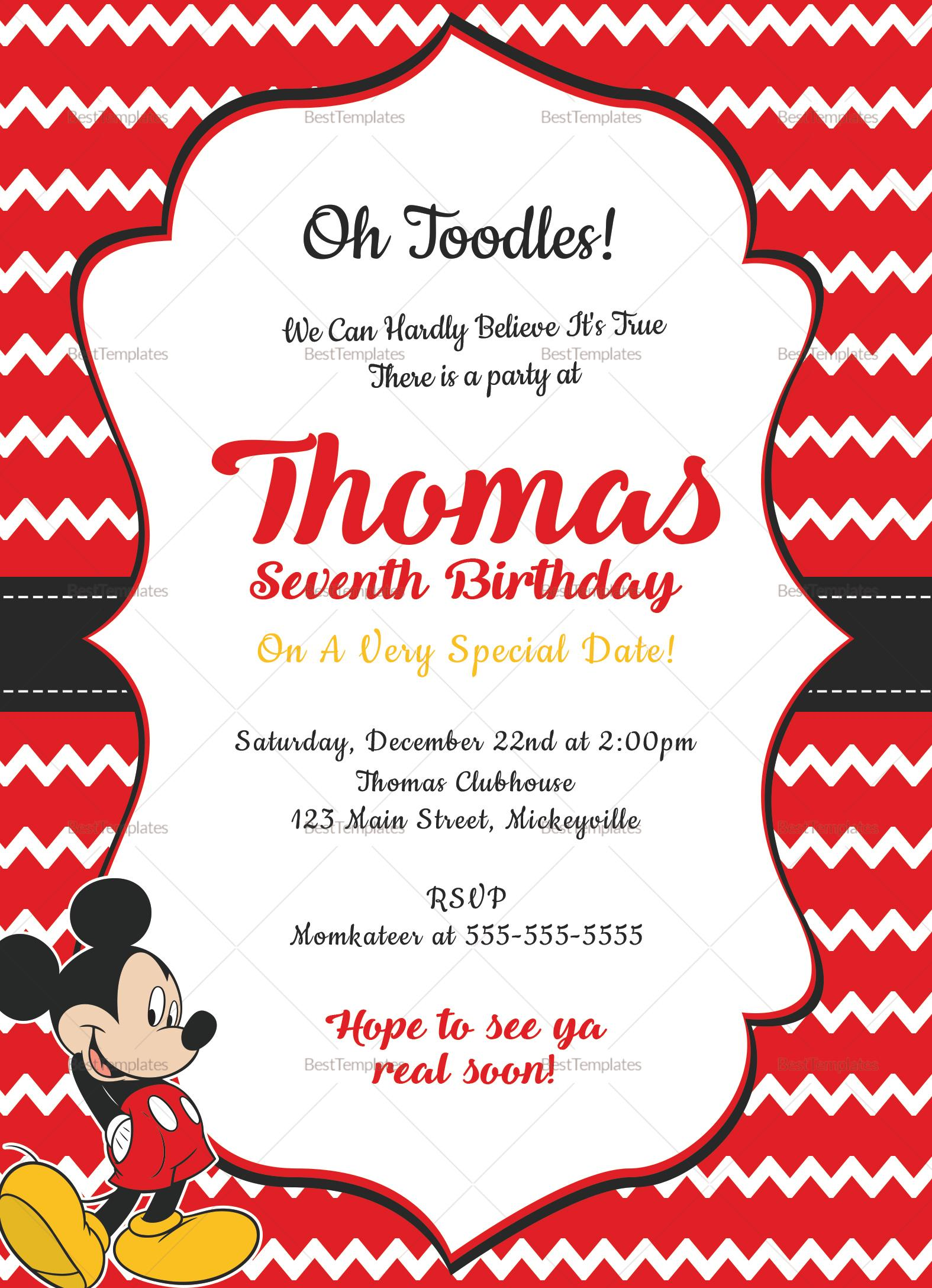 Editable Mickey Mouse Birthday Invitation Template