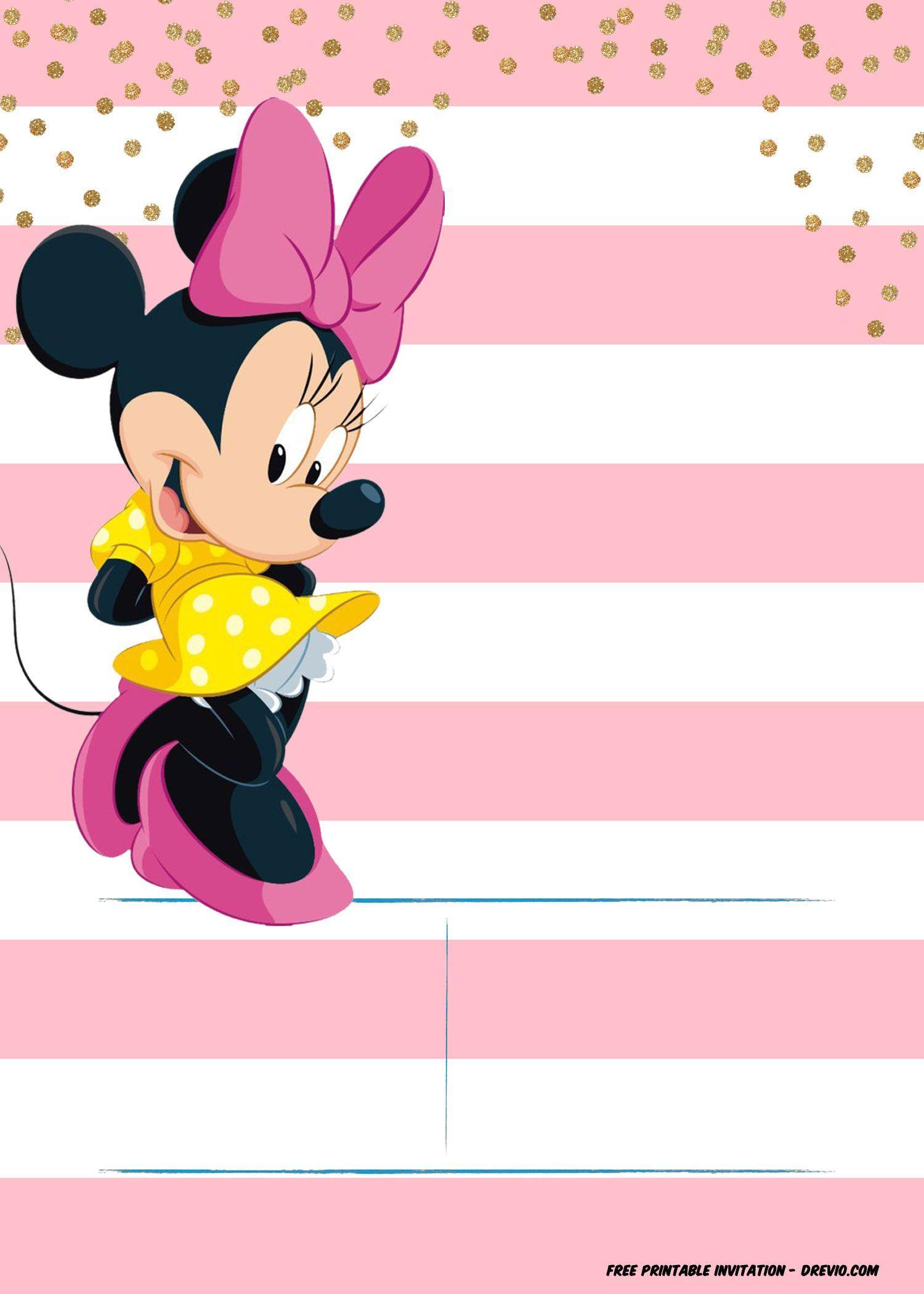 Editable Minnie Mouse Birthday Invitation Template