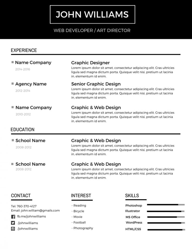 Editable Resume Templates
