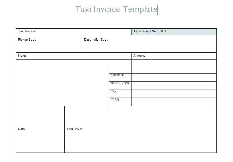 Editable Taxi Receipt Template