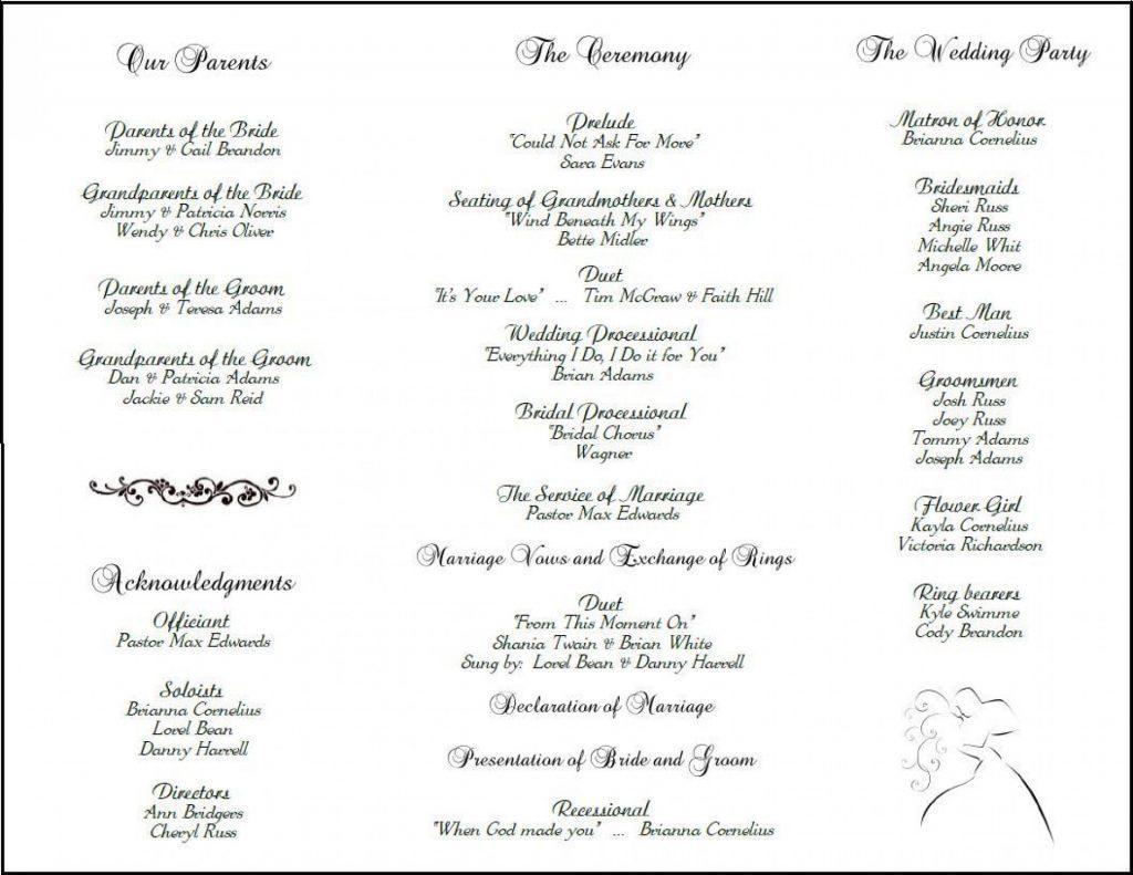 Editable Wedding Program Sample