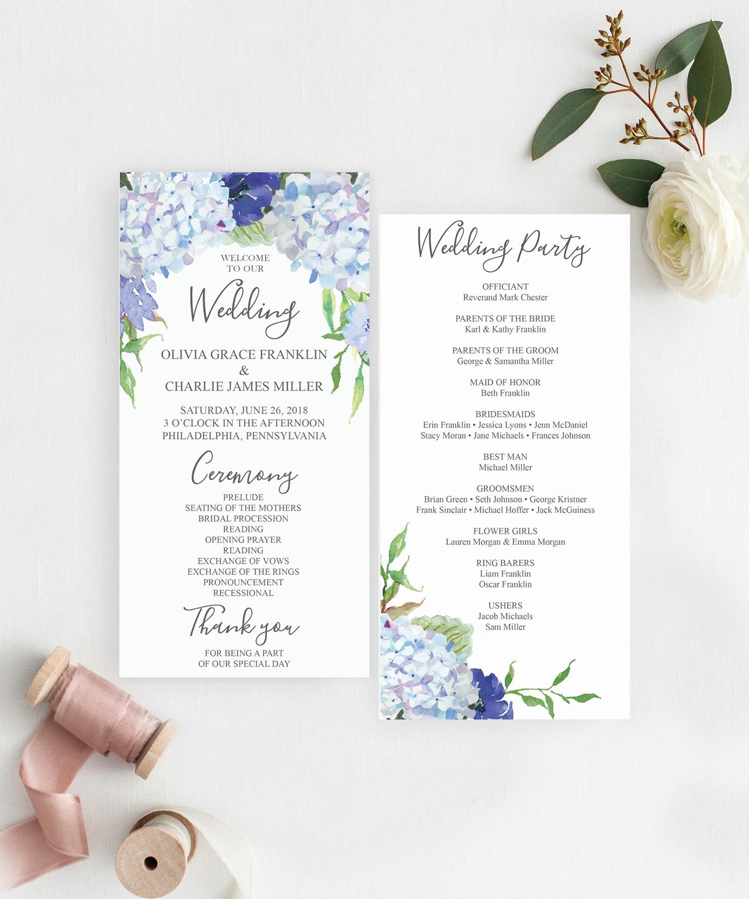 Editable Wedding Program Template