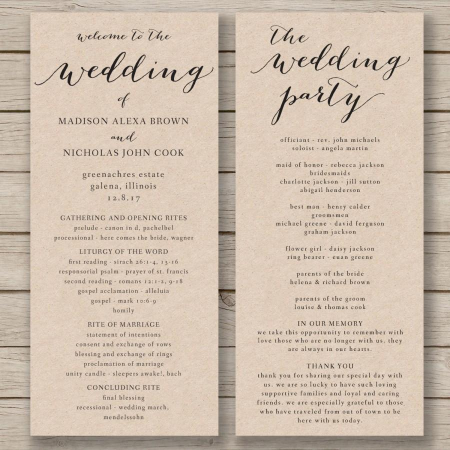 Editable Wedding Program Templates Free