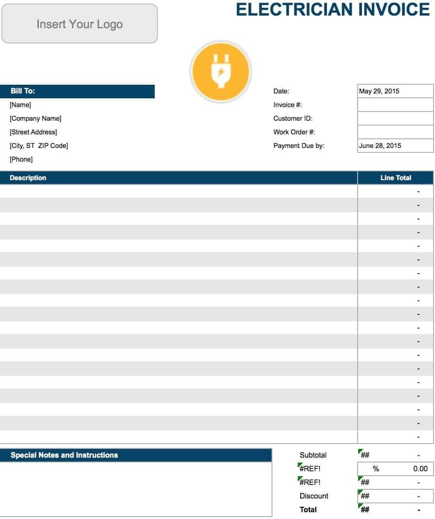 Electrical Invoice Templates