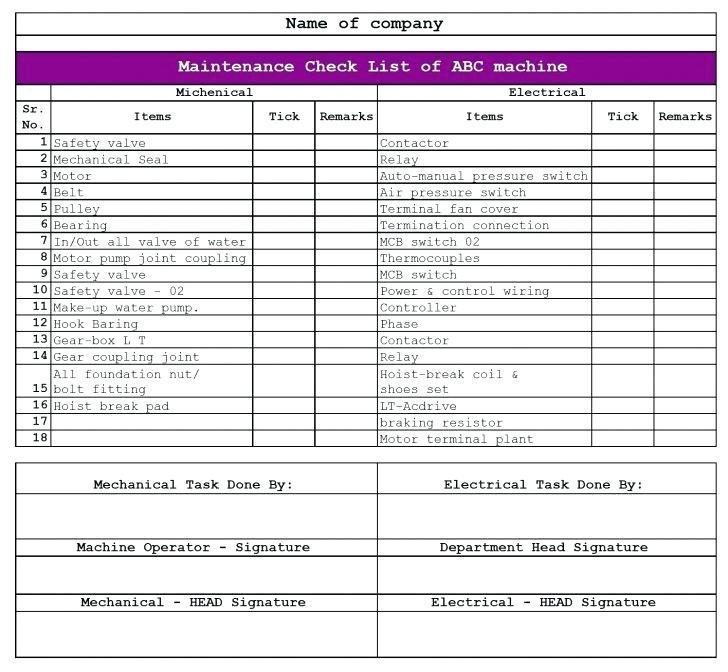 Electrical Maintenance Checklist Format