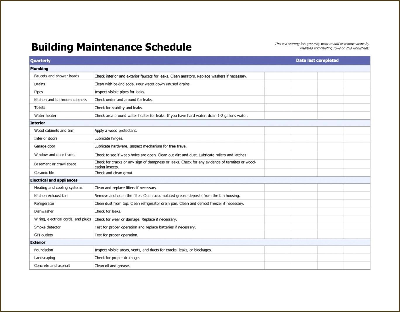 Electrical Maintenance Checklist Template Excel
