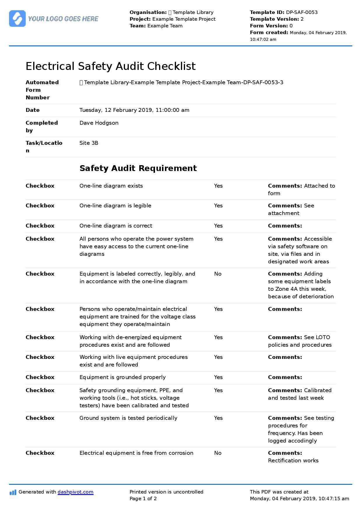 Electrical Safety Audit Checklist Template