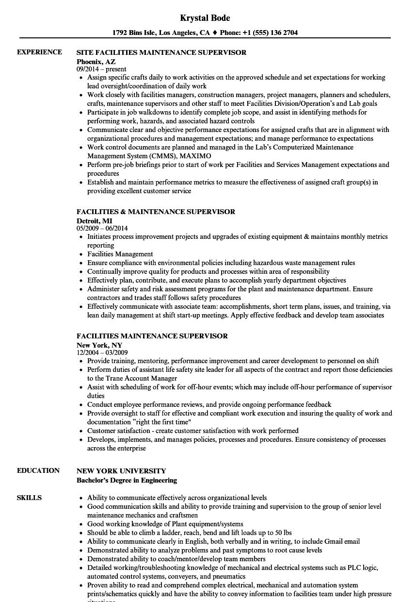 Electrical Supervisor Resume Template