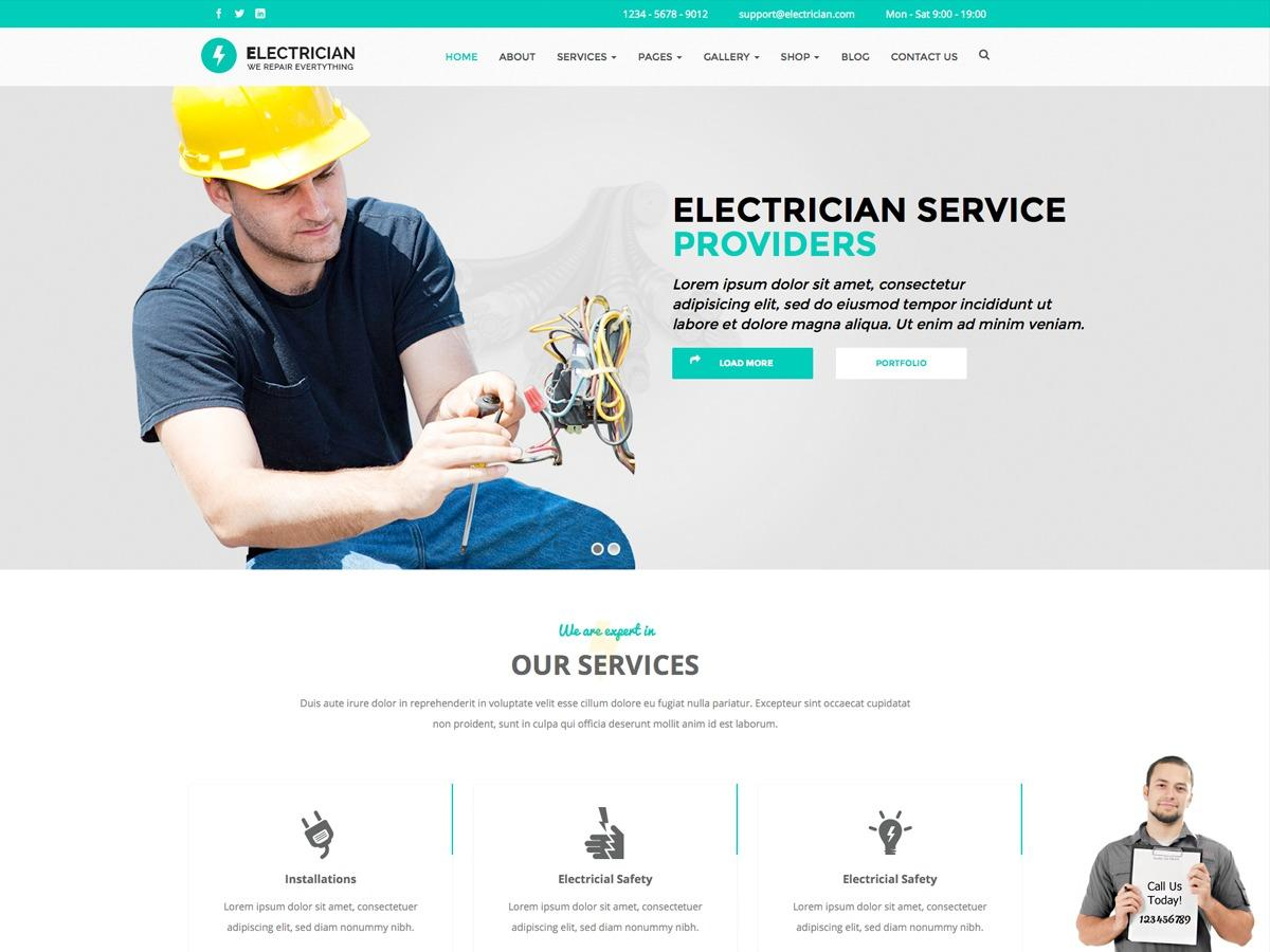 Electrician Website Template WordPress