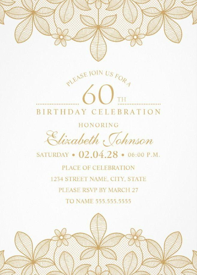 Elegant 60th Birthday Invitation Templates