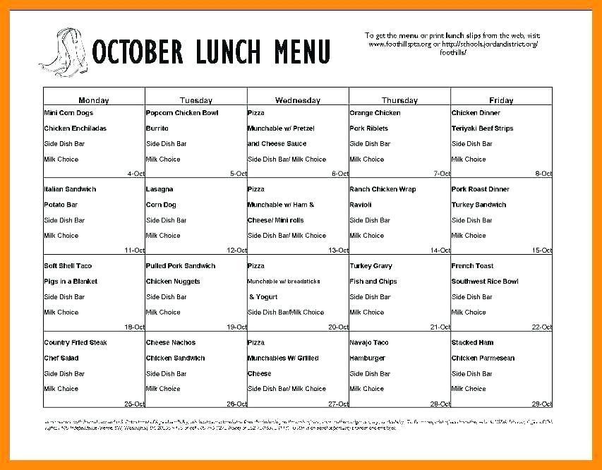 Elementary School Lunch Menu Template