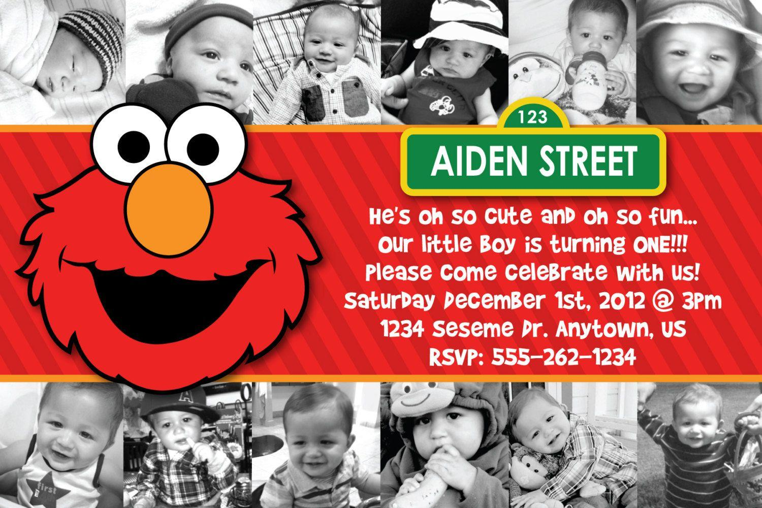 Elmo 1st Birthday Invitations Template