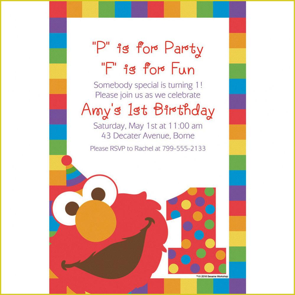 Elmo First Birthday Invitation Templates