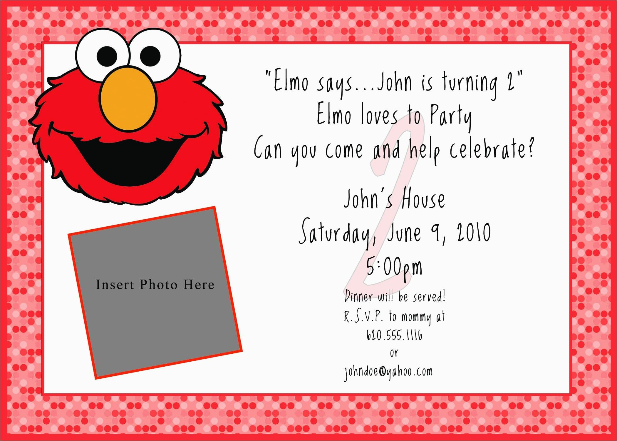 Elmo Invitations Template