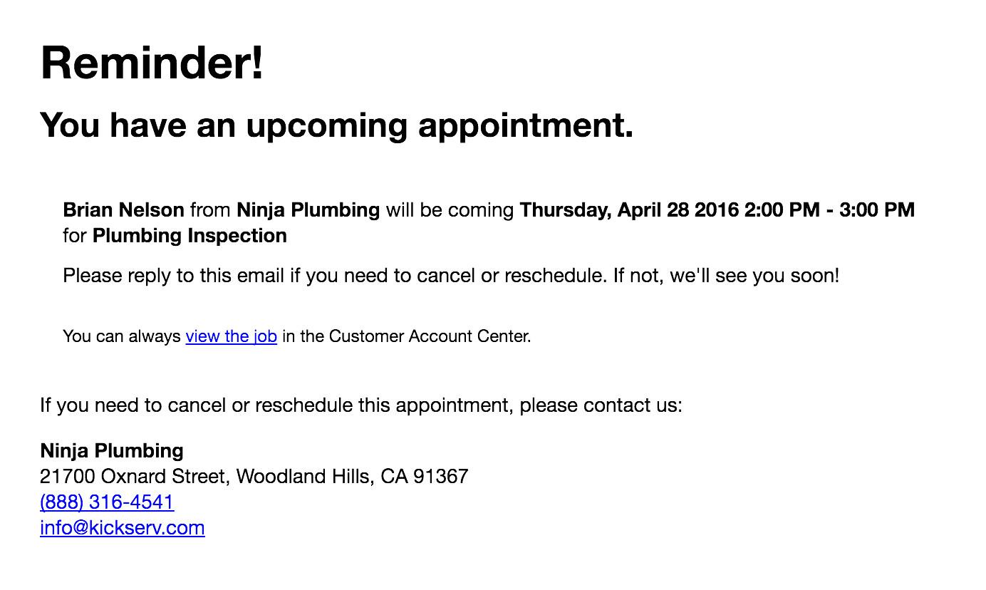 Email Appointment Reminder Template