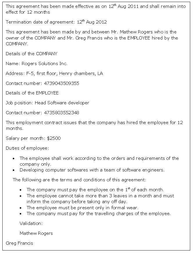 Employee Agreement Template Nz