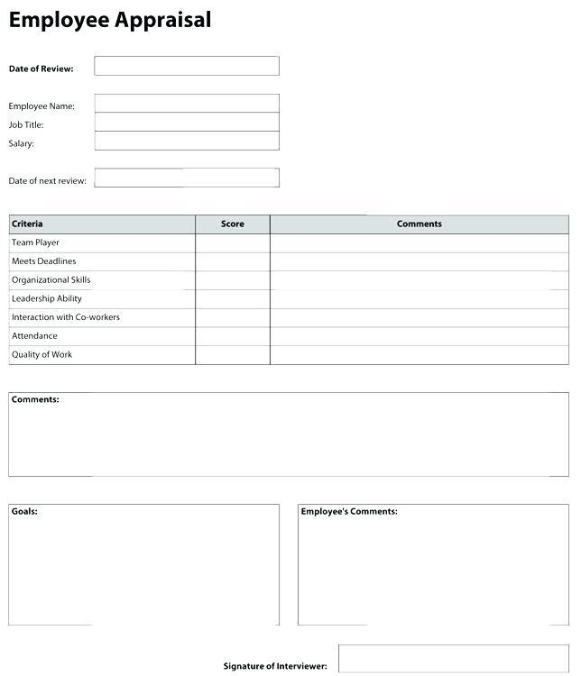 Employee Appraisal Forms Templates