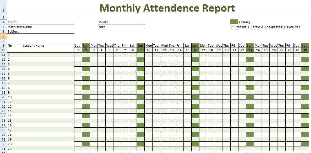 Employee Attendance Record Template Excel 2018