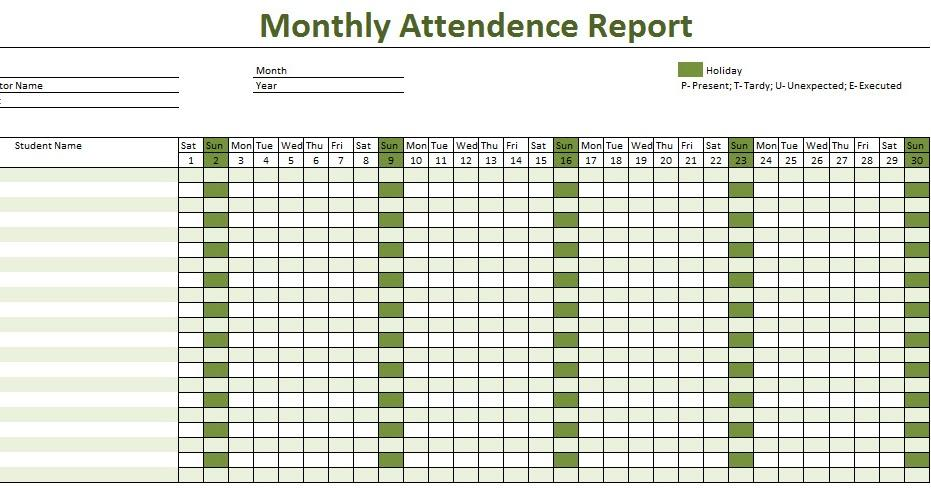 Employee Attendance Report Template