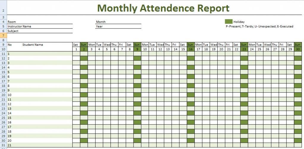Employee Attendance Template Pdf