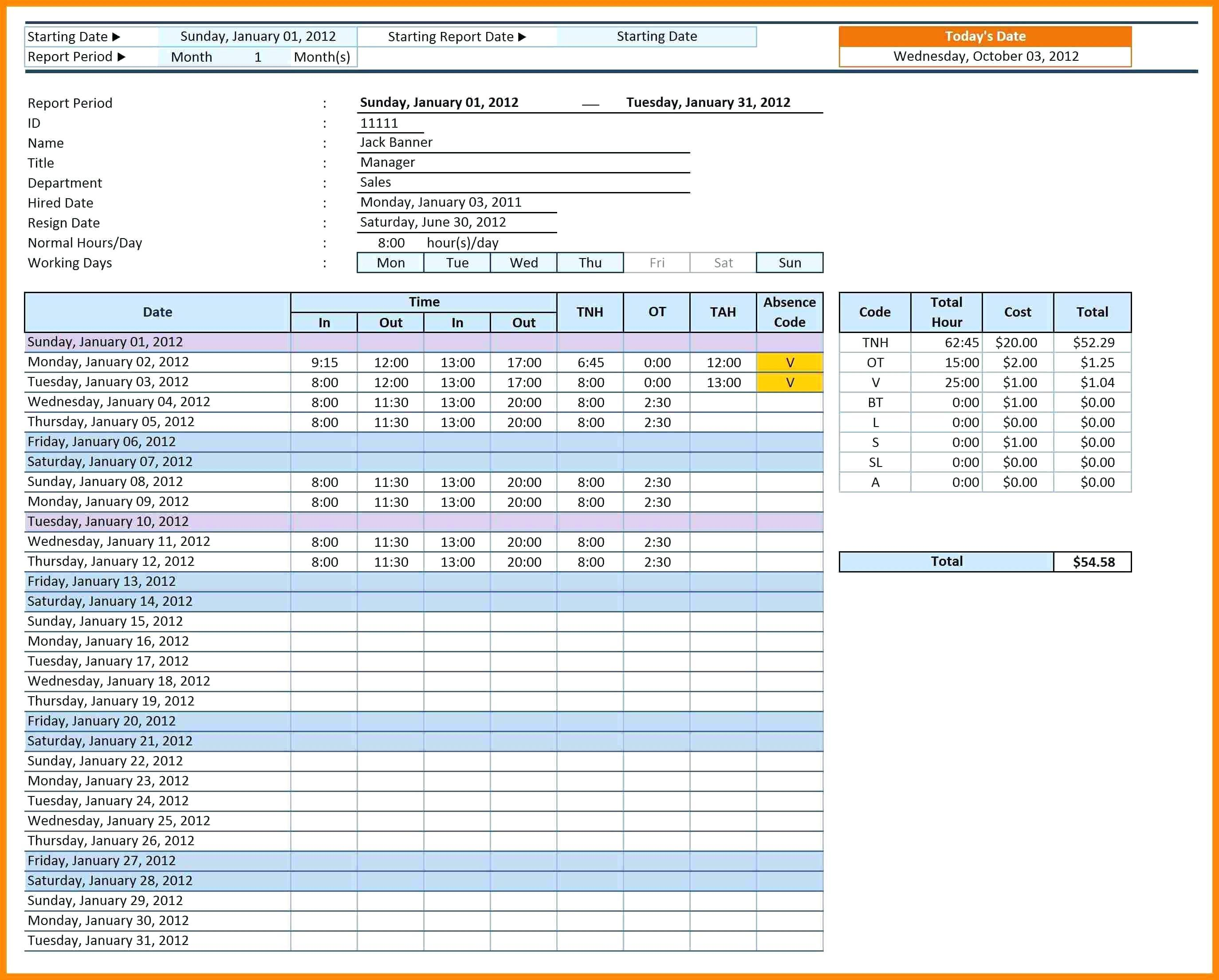 Employee Attendance Tracking Template Free