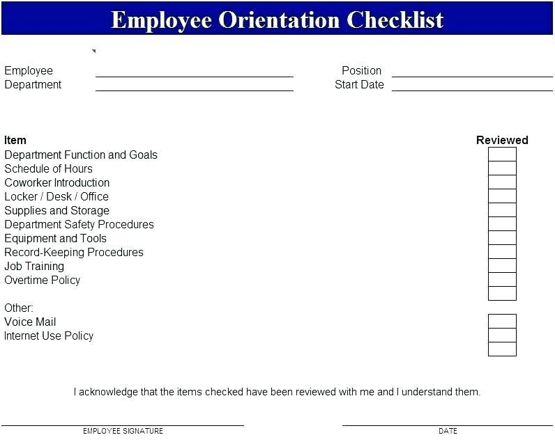 Employee Checklist Template Word