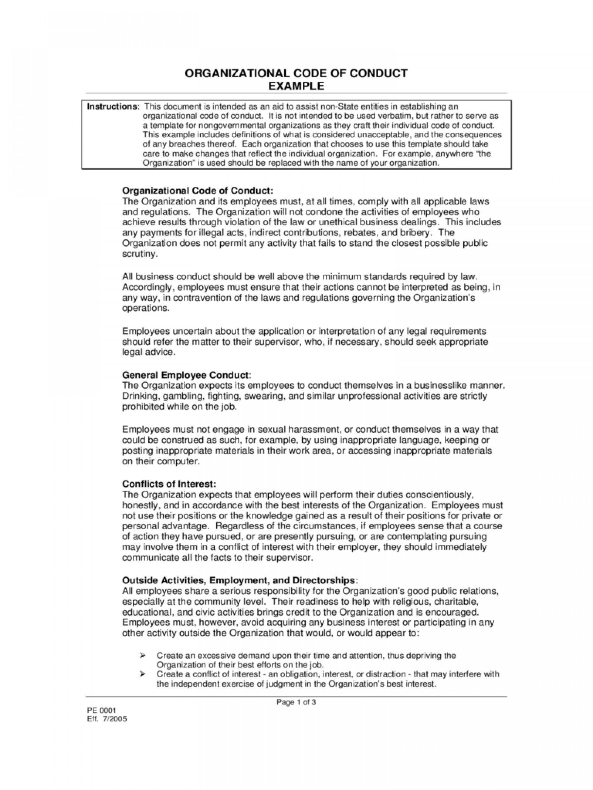 Employee Code Of Conduct Sample Pdf