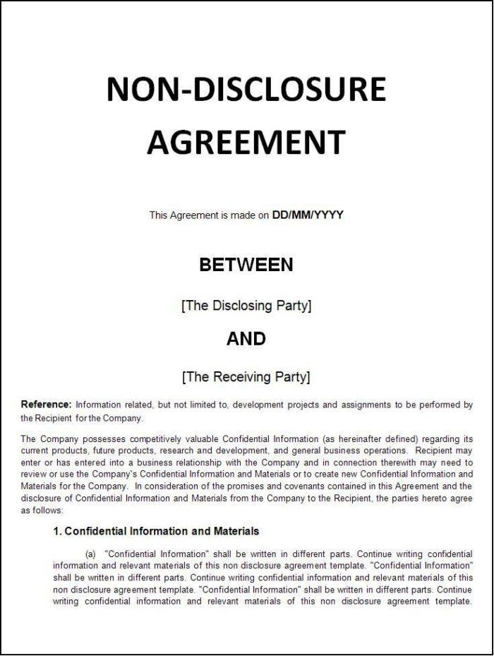 Employee Confidentiality And Nondisclosure Agreement Template