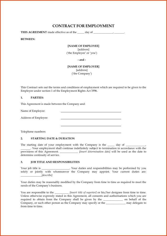 Employee Contract Template Ireland