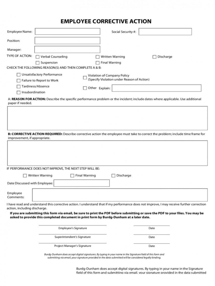 Employee Corrective Action Plan Form