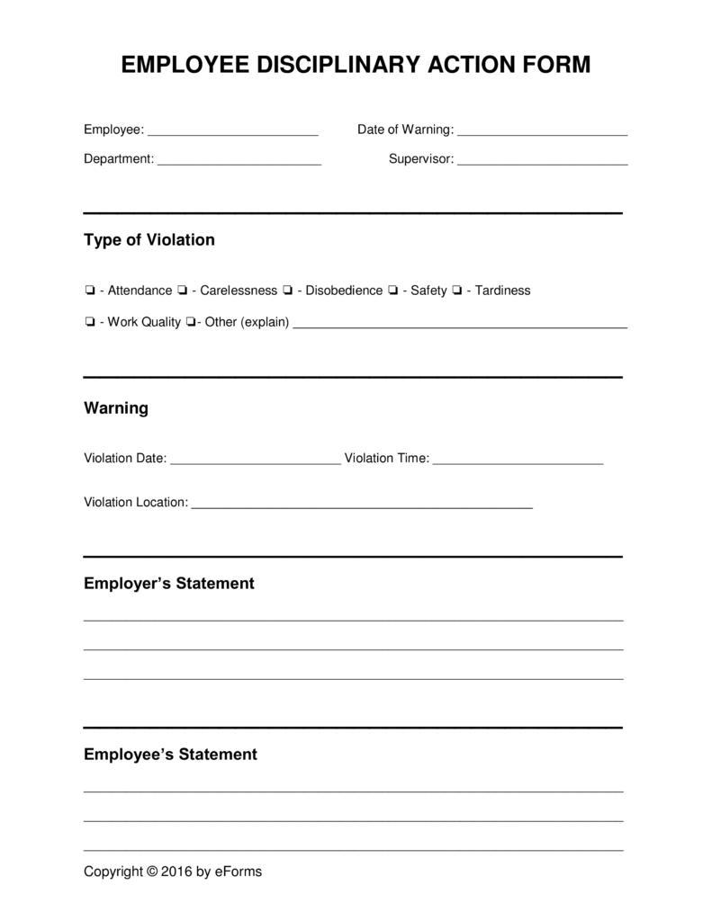 Employee Discipline Form Template