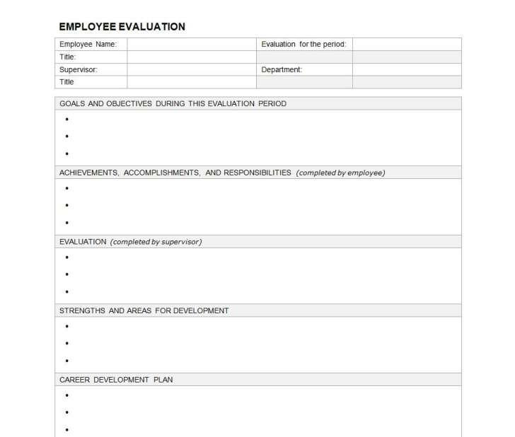 Employee Evaluation Questionnaire Template