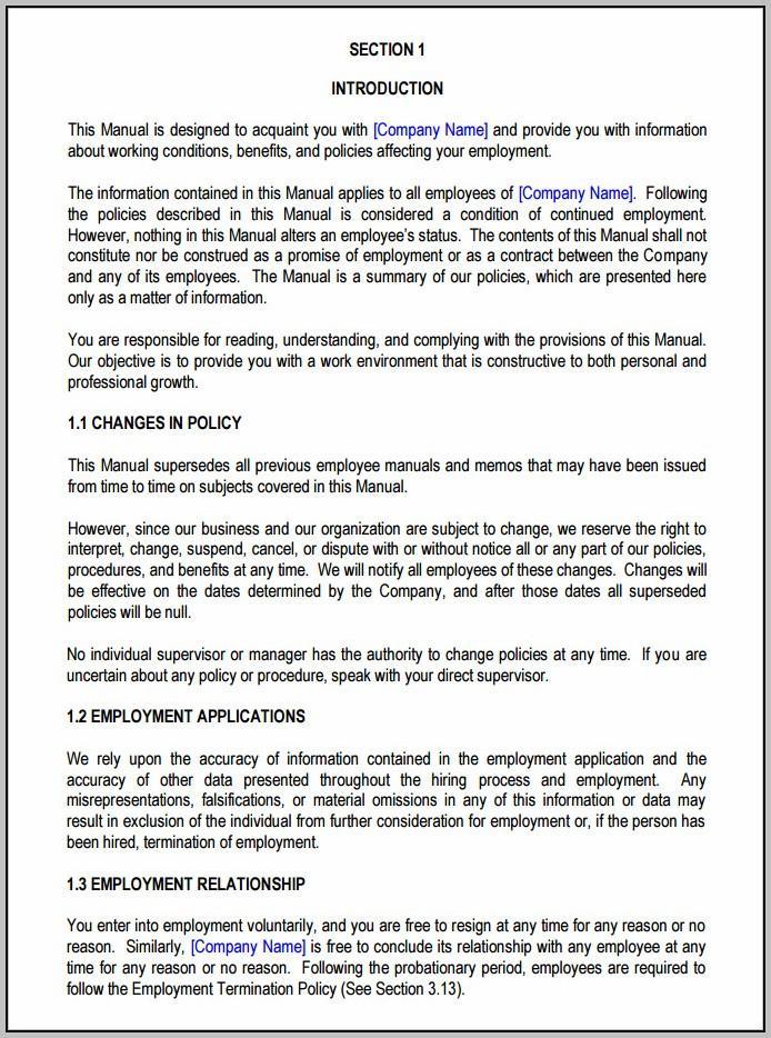 Employee Handbook Sample Malaysia