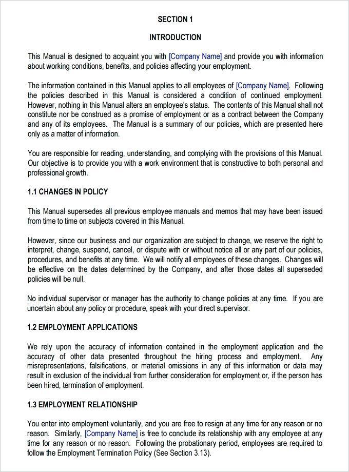 Employee Handbook Template Ireland