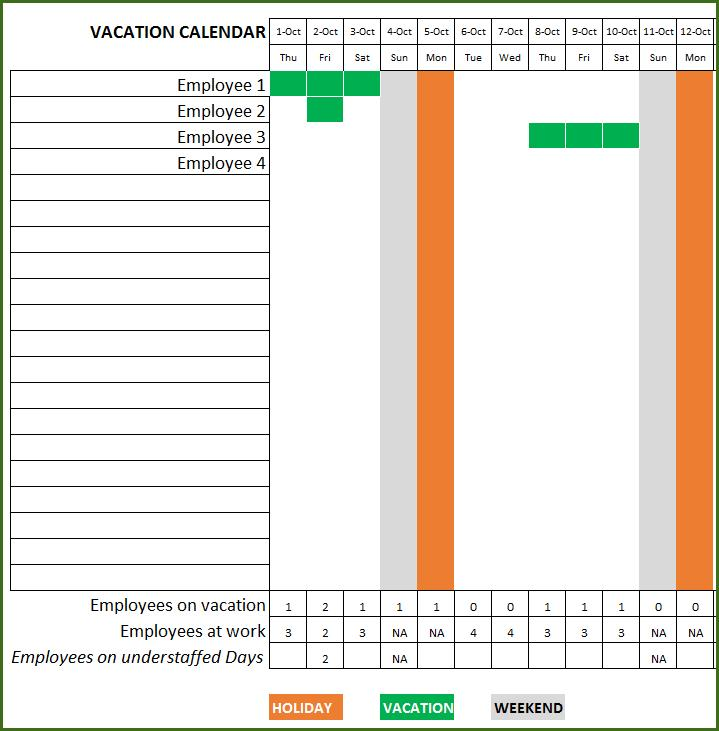 Employee Holiday Planner Template Excel